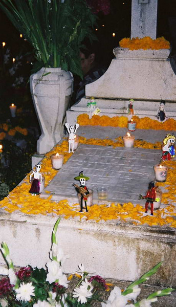 Ritual decorations in the cemetery on day one of Dia Del Muertos, Oaxaca Mexico.