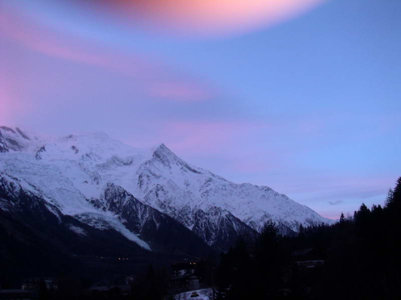 The final rays of the day on Mount Blanc, Tignes, France.