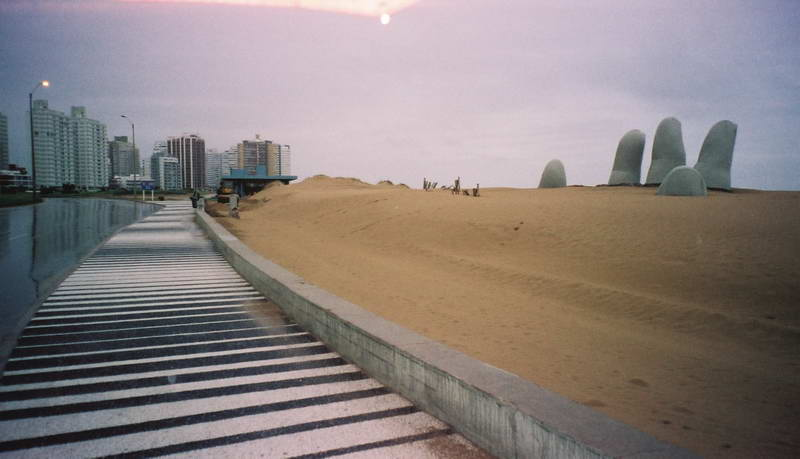 An ominous hand from the underworld grabs the unsuspecting on the beach at Punta del Este in Uruguay.