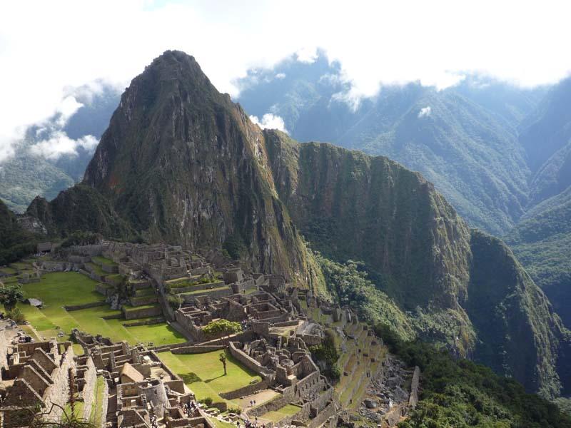 Prototypical view of Machu Picchu, Peru.