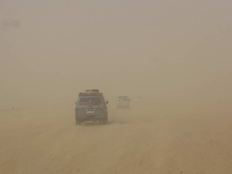 Caught in a sweltering sand storm outside Agadez, Niger