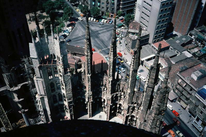 View of spires from the top of the Sagrada Familia in Barcelona, Spain.