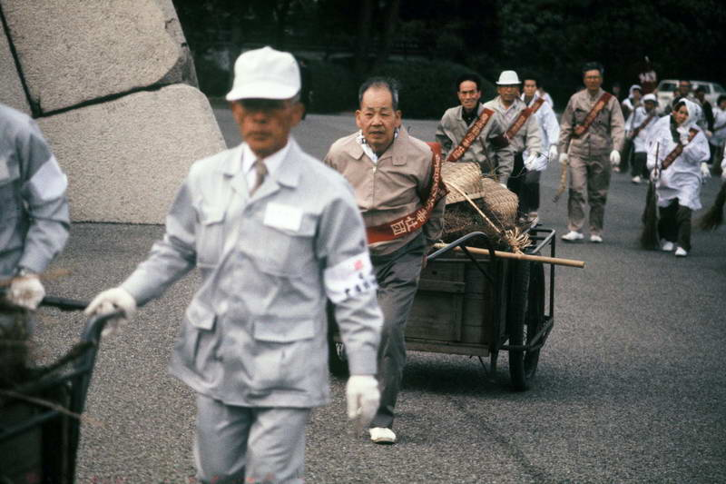Keeping the parks clean for the royal family in Tokyo Japan.