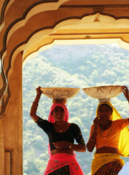 Photogenic construction laborers at the palace in Jaipur, Rajastan India.