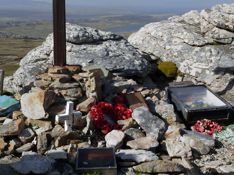 Shrine to war veterans & fatalities on top of Mount Tumbledown, Falkland Islands