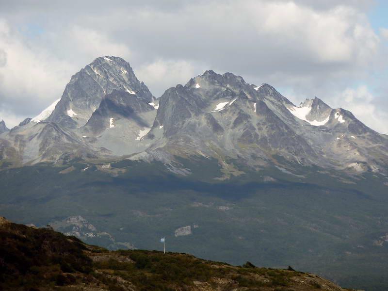 Mountains loom above Lapataia Bay, Tierra del Fuego, Patagonia, Argentina
