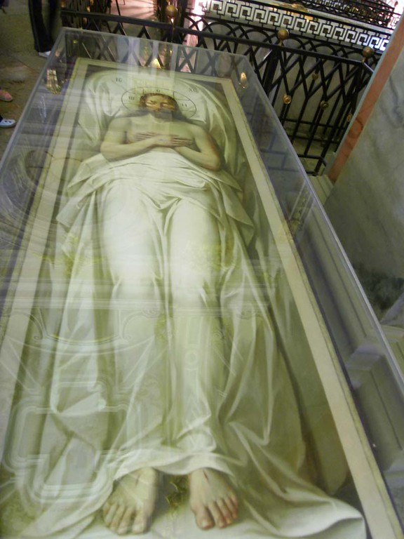 Tromp l'oeil coffin in the Russian orthodox church on the island fortress of St Petersburg, Russia