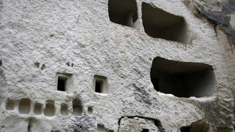 Openings cut with the precision of Le Corbusier in the Zelve open air museum in Kapydokia, Turkey.
