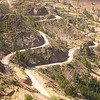 The circuitous switch-back road approach to Pisac, Peru.