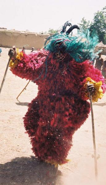 Warrior spirit dance mask in the wilds of Burkina Faso.