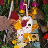 Decorated grave in the cemetery on day one of Dia Del Muertos, Oaxaca Mexico.
