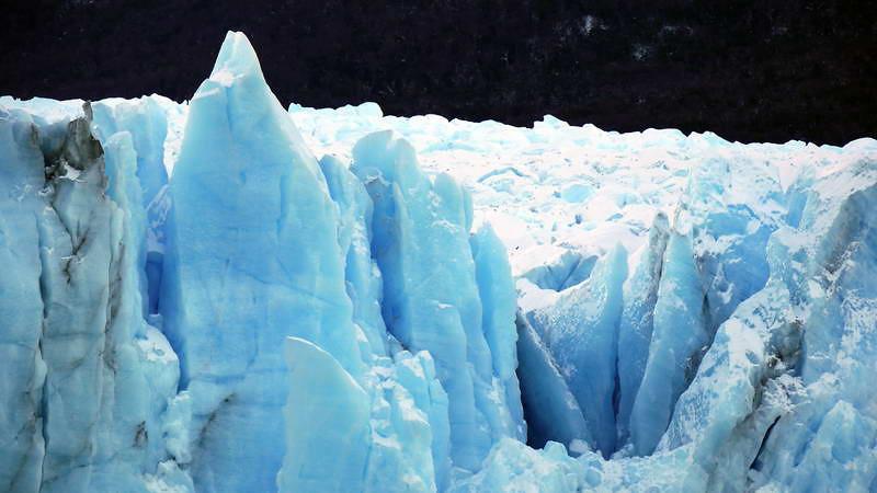 Ice detail at the Perito Moreno glacier at Los Glaciares national park in Patagonia, Argentina