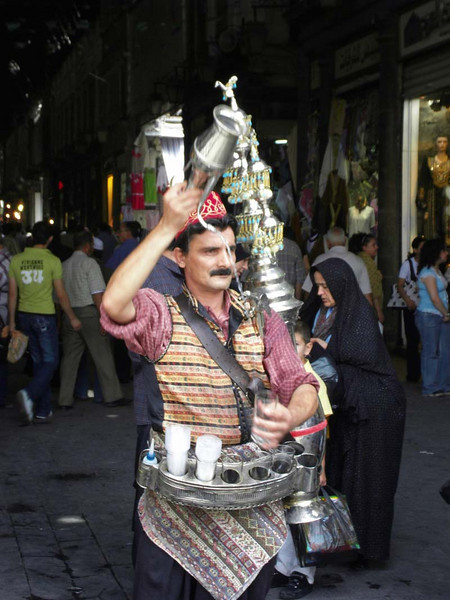 Spirited drinks seller at the souk in Damascus, Syria.