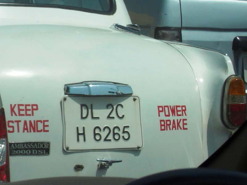 Delhi traffic warning; Delhi, India.