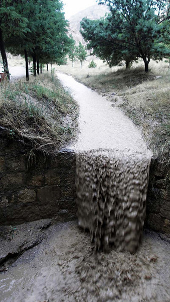 Sudden thunderstorm flash floods the Zelve open air museum in Kapydokia, Turkey.
