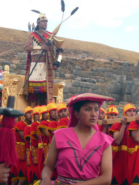The King is carried to his alter during the Inti Raymi celebrations in Sacsayhuanman near Cuzco Peru.