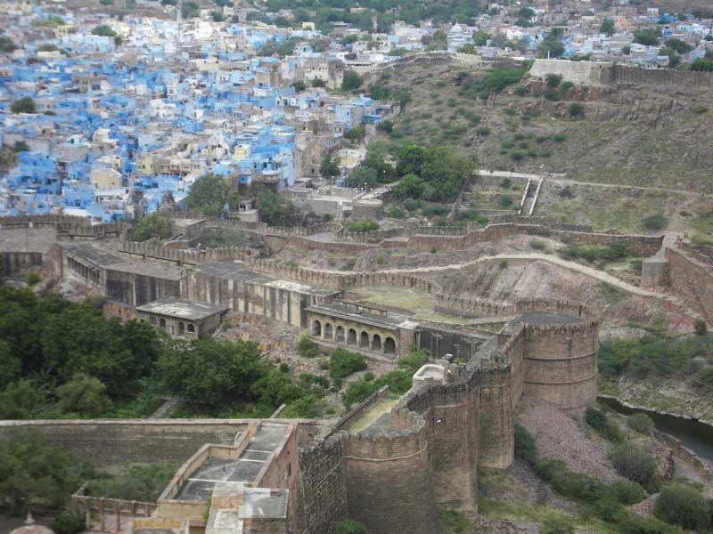 View of the blue houses of Jodphur, Rajastan India from the hilltop palace
