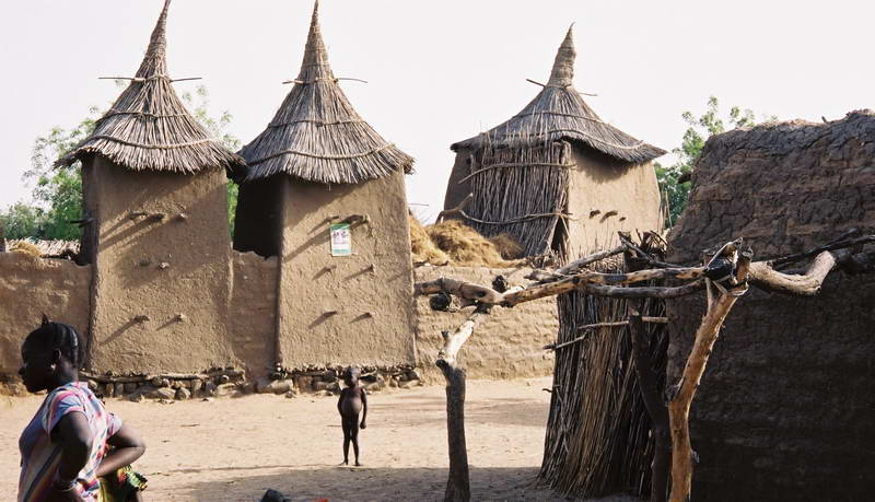 Dogon millet storage huts in Songo village along the Bandiagara escarpment in Mali