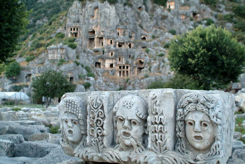 Detail of the thespian relief from the amphitheater in Myra, along the Lycian Way, Turkey.