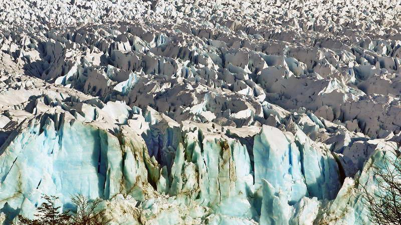 Crusty, crevassed top of the Perito Moreno glacier at Los Glaciares national park in Patagonia, Argentina