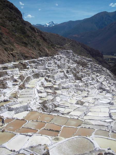 The terraced salt farms of Maras in Peru.