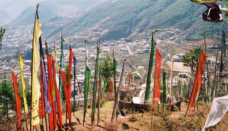 Prayer flags on the hillside outside Thimphu Bhutan.