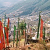 Prayer flags on the hillside outside Thimphu Bhutan.
