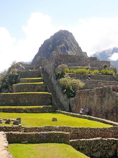 Agricultural terraces adjoining the main plateau of Machu Picchu, Peru.