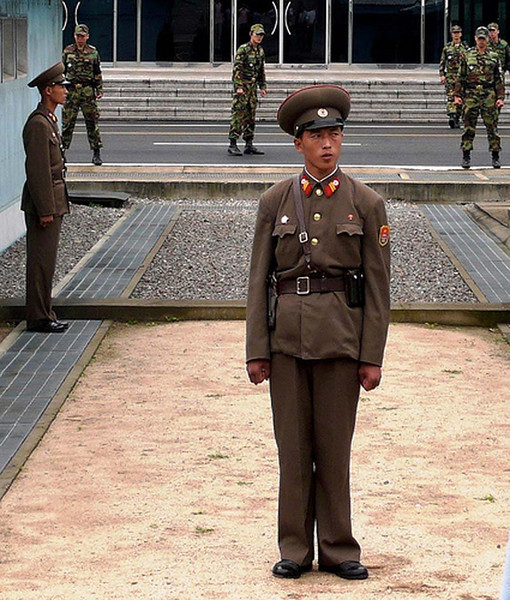 Guards of various types at the border in the DMZ, North/South Korea
