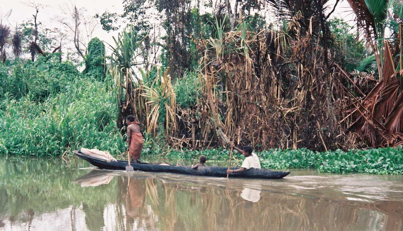 Out and about on a tributary of the upper Sepik river, Papua New Guinea.