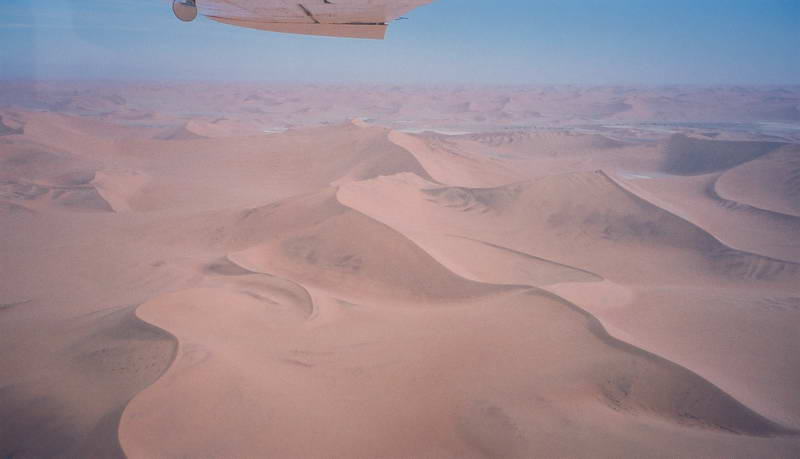 View of the endless dunes from the over flight between Sossusvlei and Swakopmund, Namibia.