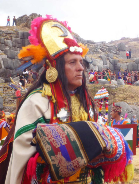 A high priest brings tribute at the ancient rituals at Sacsayhuanman during the Inti Raymi celebration in Cuzco, Peru.