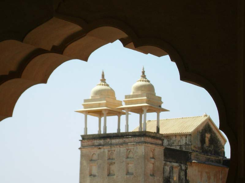 Scenic view of distant features at the palace in Jaipur, Rajastan India.