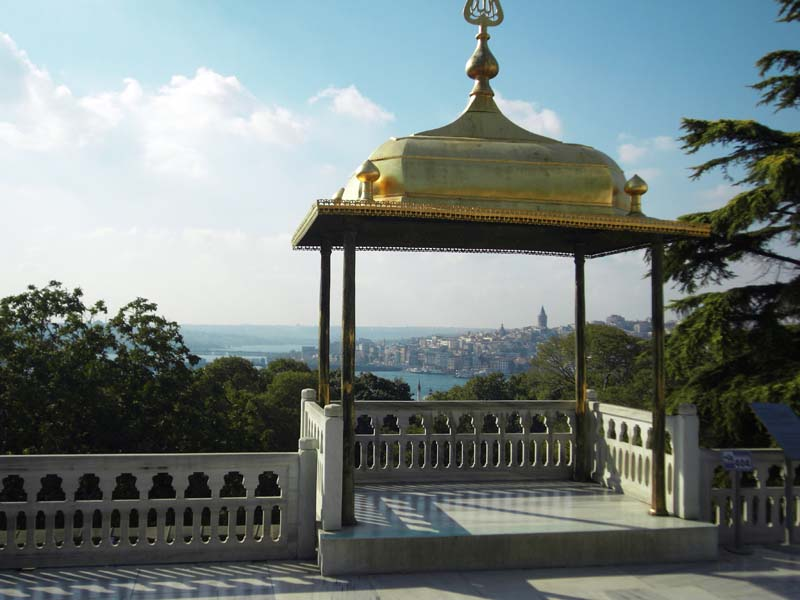 View to the Bosphorus from the Topkapi palace in Istanbul, Turkey.