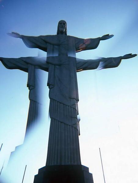 """Christo la Redentor seen in """"I Love Lucy"""" style atop the Corcovado above Rio de Janeiro, Brazil"""