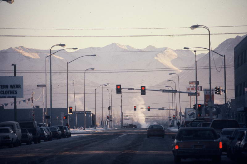 Sunny day on the great white frontier in Anchorage Alaska USA.