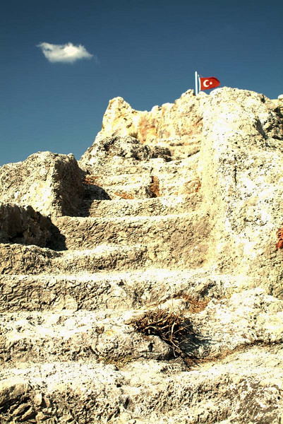 Well worn rock cut stairway to the top of the fort in Tlos, along the Lycian Way, Turkey