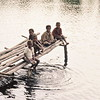 Kid's hanging out on village pier in the upper Sepik river, Papua New Guinea