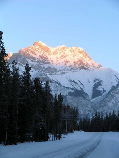 Sun kissed peaks near Lake Louise, Alberta Canada.