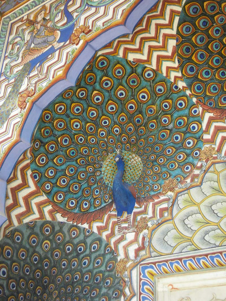 Peacock architectural detail on the palace in Jaipur, India.