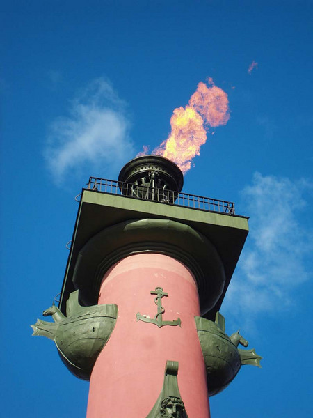 The eternal flame burns for all sailors only on Navy Day in St Petersburg, Russia.