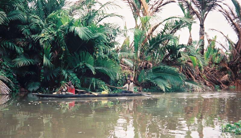 Hunting crocodiles on the upper Sepik river, Papua New Guinea.