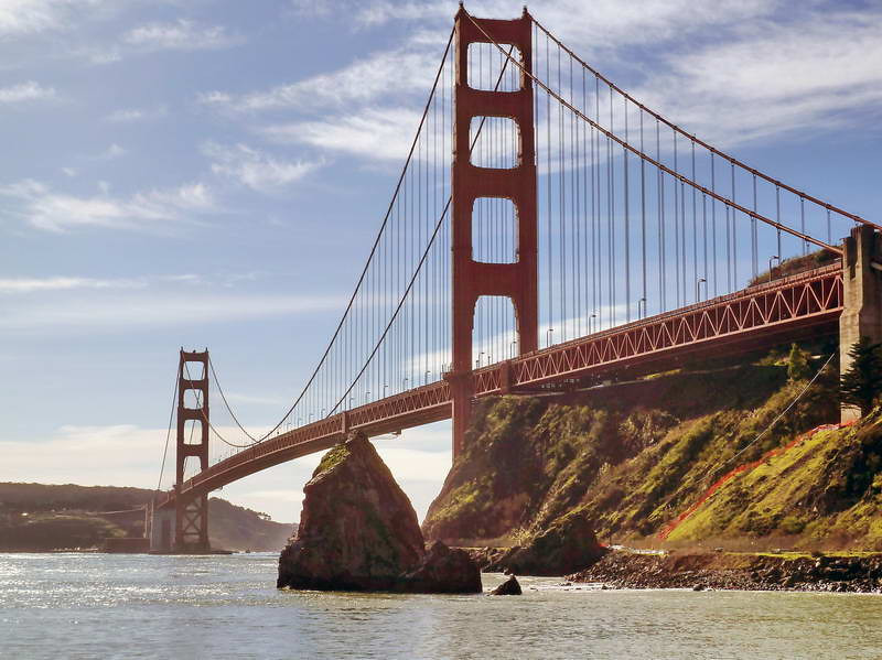 The Golden Gate bridge viewed from Cavallo Point, near Sausalito, California