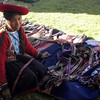 Girl selling handwoven bracelets at the cooperative in the Urubamba valley, near Cuzco Peru.