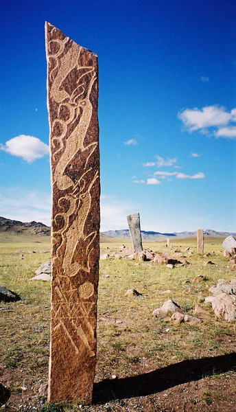 """""""Deer Stones"""" - Turkic markers on a grassy mountain plain outside of Moron, northern Mongolia."""