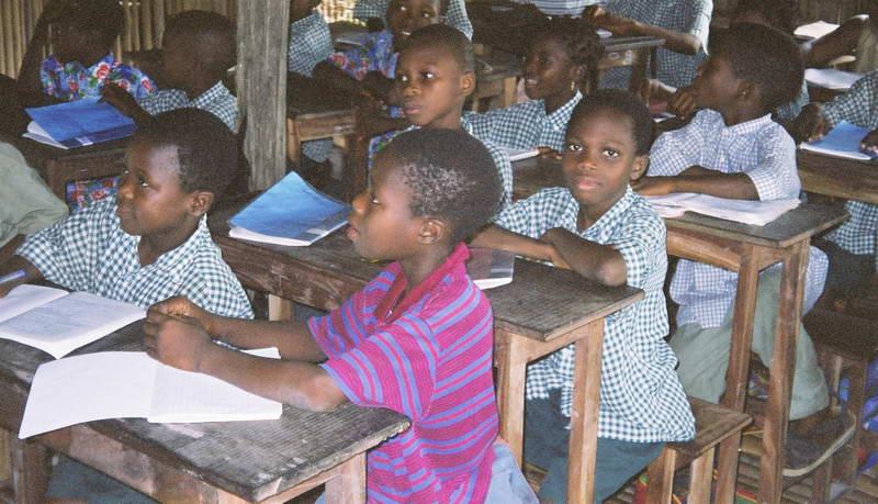 Stilt water village school in Ganvier, Benin.