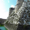 Base and moat of the Crusaders' castle; Krak de Chevaliers. in northern Syria.e