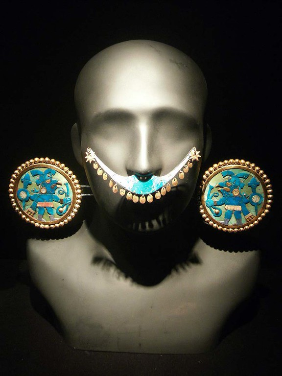 Ancient jewelery on display at the Larco Museum in Lima Peru.