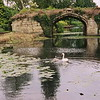 12th century stone bridge at Warwick castle, England.