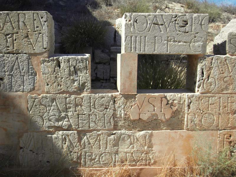 Weathered stone construction in ancient Roman Leptis Magna, Libya